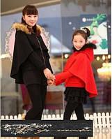 Пальто-пончо с мехом енот мама и ребенок