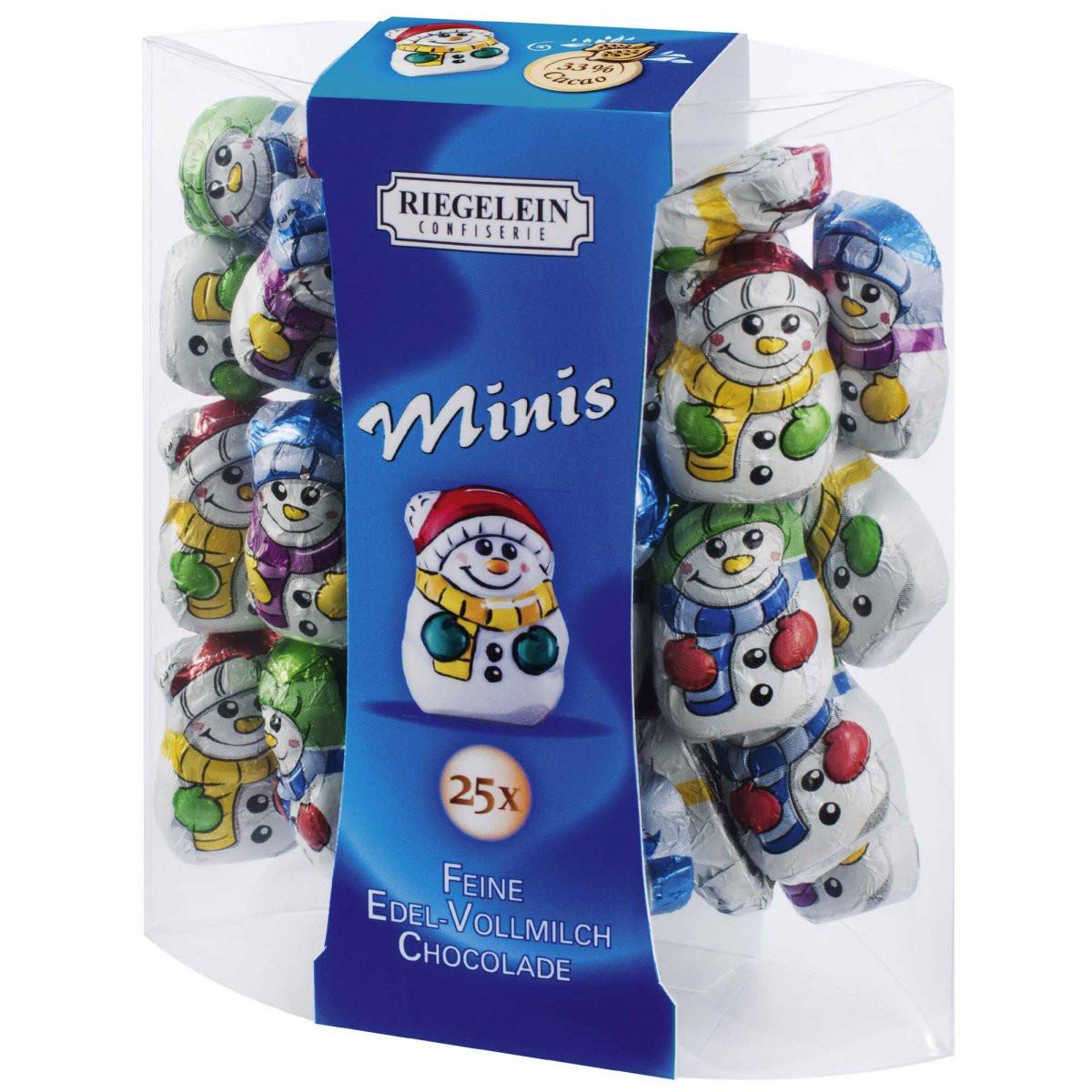 Шоколадні фігурки сніговик Riegelein Chocolade Minis, 100 р.