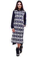 Теплое зимнее платье на флисе с капюшоном из эластичного трикотажа, т.синий
