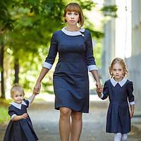 Платья для мамы и дочки воротничок