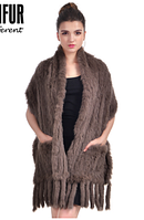 Меховая шаль, палантин из кролика 170 cm*35 cm хаки.Меховой платок