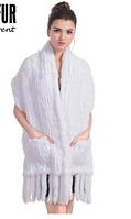 Меховой палантин из кролика 170 cm*35 cm белый. Меховая женская жилетка, шаль.Меховой платок