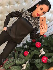 Блуза шелковая с бусинами 8002