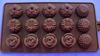 """Форма для конфет  из 15-ти """"цветы""""  в упаковке   №18786"""