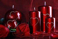 Свеча валентинка Love 60х115мм. 1шт. Цвет бордовый металлик, фото 1