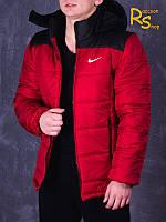Зимняя мужская куртка Nike red-black