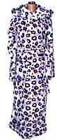 Халат женский махровый длинный Леопард с капюшоном, р.р. 40-54