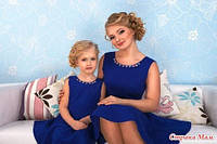 Комплект одинаковых платьев  Мама+дочка  с украшением