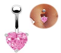 Пирсинг, сережка для пупка, украшенная горным хрусталем в форме сердца, цвет серебро + розовый камень