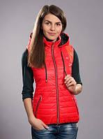 Жилетка женская молодежная утепленная, красный, Размеры: XL