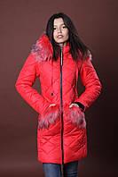 Зимняя женская молодежная куртка. Код К-83-36-17. Цвет красный.