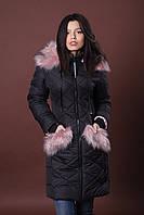 Зимняя женская молодежная куртка. Код К-83-36-17. Цвет черный с пудровым мехом.