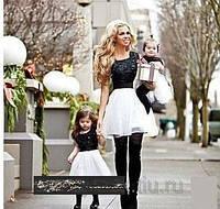 Набор мама и дочка платья  жаккард низ шифон