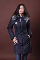 Зимняя женская молодежная куртка. Код К-82-36-17. Цвет темно синий.