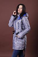 Зимняя женская молодежная куртка - парка. Код К-48-12-15. Цвет серый с ярким синим.