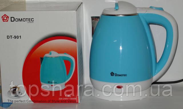 Электрочайник Domotec DT-901 чайник 1.8л голубой/белый