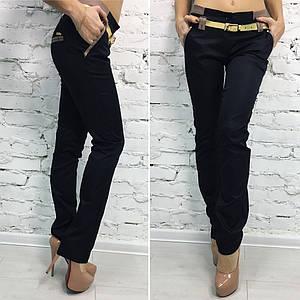 """Стильные женские брюки """"Мокко"""" с ремешком и карманами"""