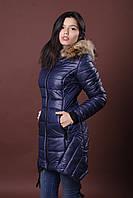 Зимняя женская молодежная куртка. Код К-62-12-16. Цвет темно синий.