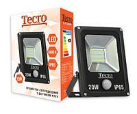 Прожектор LED, Tecro, 20W, 6400K, Black, 1400Lm, 160?, IP65, кабель с заземлением (TL-FL-20B-PR) с д