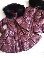 Эксклюзивный набор мама и дочка куртки с мехом
