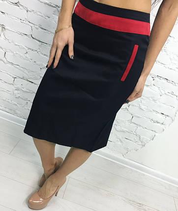 """Офисная женская юбка-карандаш """"Marta"""" с контрастными вставками (2 цвета), фото 2"""