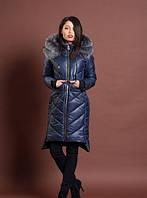 Зимняя женская молодежная куртка, темно синий, р: 42-48