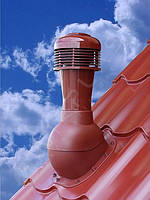 Вентиляционный выход R-50 НЕИЗОЛИРОВАННЫЙ с электрическим вентилятором D110-150 мм  Н 495 мм
