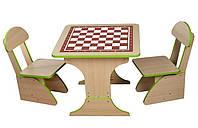 Детский игровой стол растущий Шахматы и два стульчика. F65