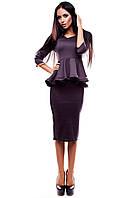 Элегантное платье из эластичного трикотажа с объемной баской , шоколад