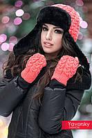 Женский модный набор шапка + перчатки (расцветки)