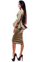 Элегантное платье из эластичного трикотажа с объемной баской , оливковый