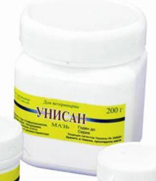 """Мазь """"Унисан"""" 200 г банка антибактериальный, противовоспалительный ветеринарный препарат"""