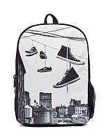 """Рюкзак для подростка """"БРУКЛИН - ОБУВЬ на проводе"""" с ярким дизайном ТМ Mojo Pax Черно-белый KAB9985236"""