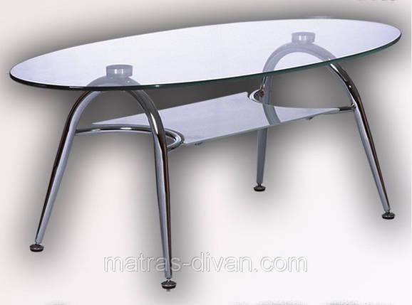 Журнальный стол KSD-CT-005 каркас хром, прозрачное закаленное стекло., фото 2