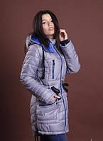 Зимняя женская молодежная куртка - парка, серый с ярким синим, р: S, M, L, XL