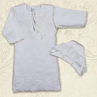 Сорочка крестильная Яночка-2 д.р. с шапочкой Интерлок Цвет белый, молочный размер 56-68 Бетис