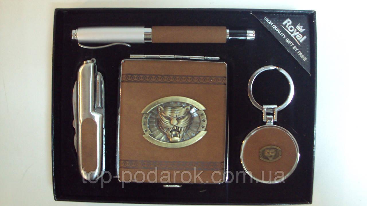 Набор мужской брелок+портсигар+нож+ручка