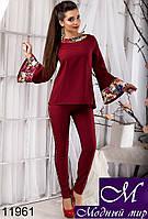 Нарядный женский брючный костюм цвета бордо (р.42,44,46) арт.11961