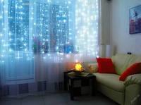 Светодиодная гирлянда штора, гирлянда  занавес –дождь  2,5 м на  2 м, 500 LED  синяя, белая, разноцветная