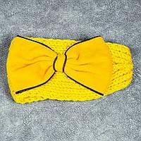 Акция Вязаная повязка на голову желтая