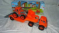 """Большая детская машина """"Автовоз с Трактором"""",650*240*210мм в подарочной коробке,Технок.Игровой набор машинок д"""