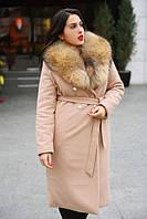 Пальто женское длинное кашемировое с натуральным мехом P4852