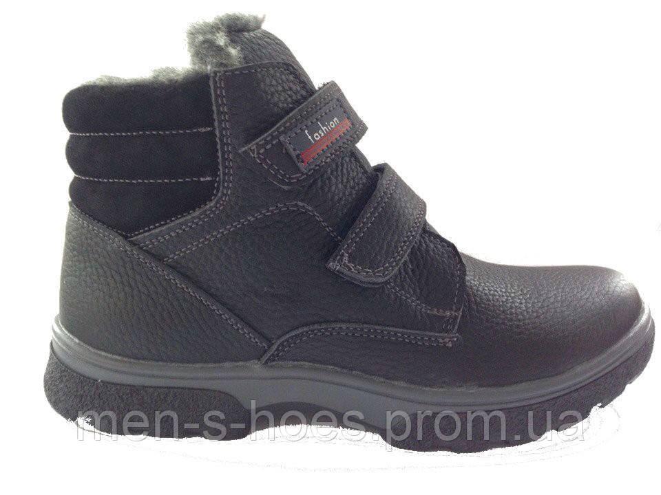 2e9b4353f ... Зимние мужские кожаные черные ботинки для подростков на липучках, фото 4