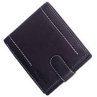 Кожаный мужской кошелек (портмоне) Cappalli черного цвета с белой строчкой, фото 1