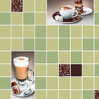 Обои для стен шпалери в кухню квадраты зеленые клетка чашка кофе зелені влагостойкие 0,53*10м