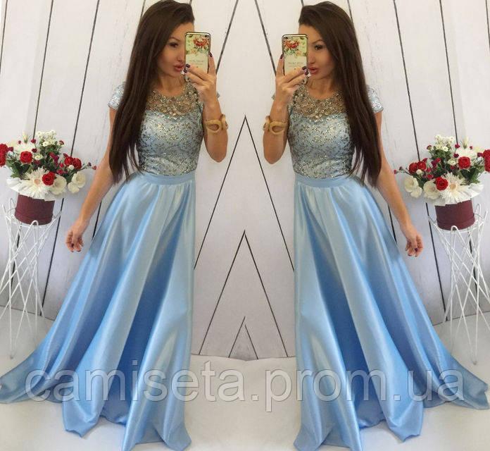 65048f1d9f8 Платье женское длинное атласное с кружевом P4854  продажа