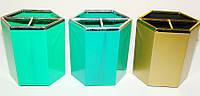 Подставка для ручек 3 отделения, пластик (ассорти)