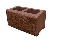Блок бетонный стеновой Декор 390x190x190 мм, оливковый (ДНЕПР)