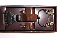 Подтяжки кожаные 'Topgal EXCLUSIVE' коричневые с белыми точками