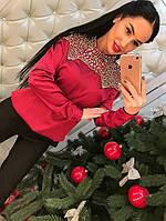 Стильная женский блуза, искусственный шелк, цвет красный